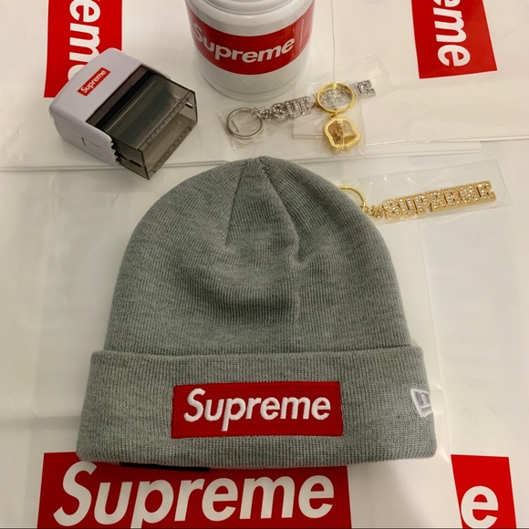 f7101cec5 Supreme new era box logo beanie heather grey NWT